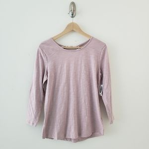 Old Navy 3/4 Sleeve Lilac Top 100% Cotton NWT